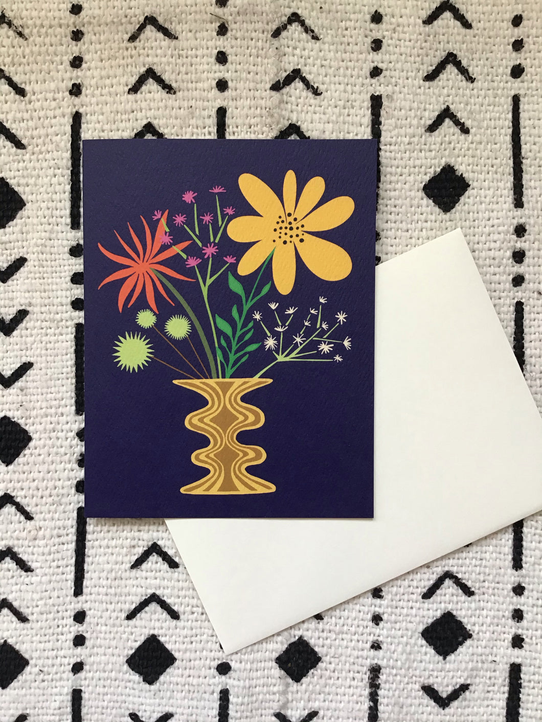 Friendly Flowers Navy Card