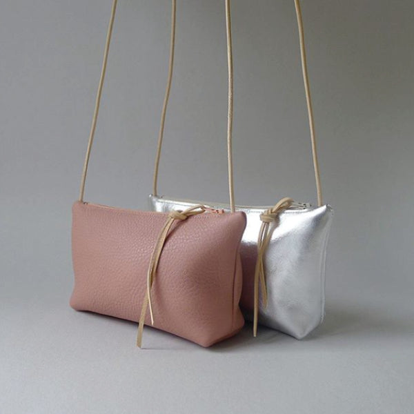 Leather Mini Pouch Purse Blush