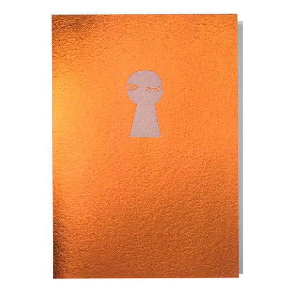 Copper Key Hole Wink Card