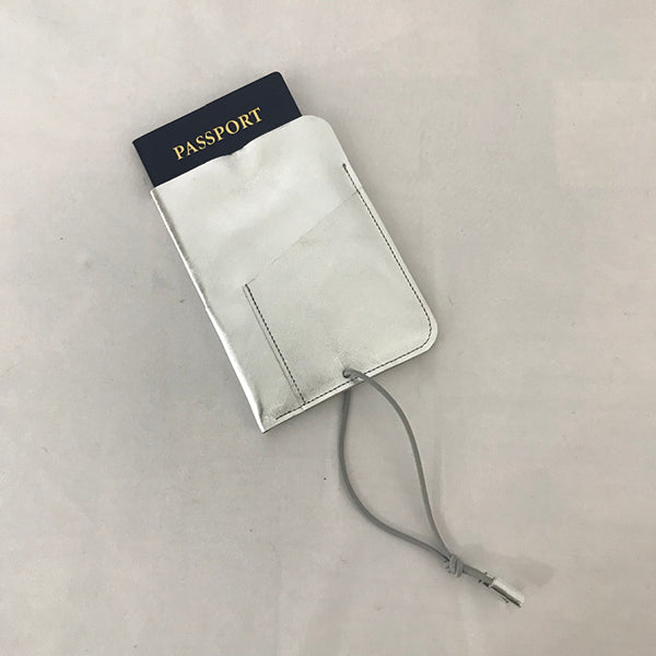 Leather Passport Cover Silver