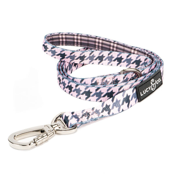 Pet Leash Pink Houndstooth