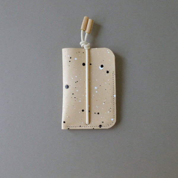 Leather Card Case Handmade Splatter