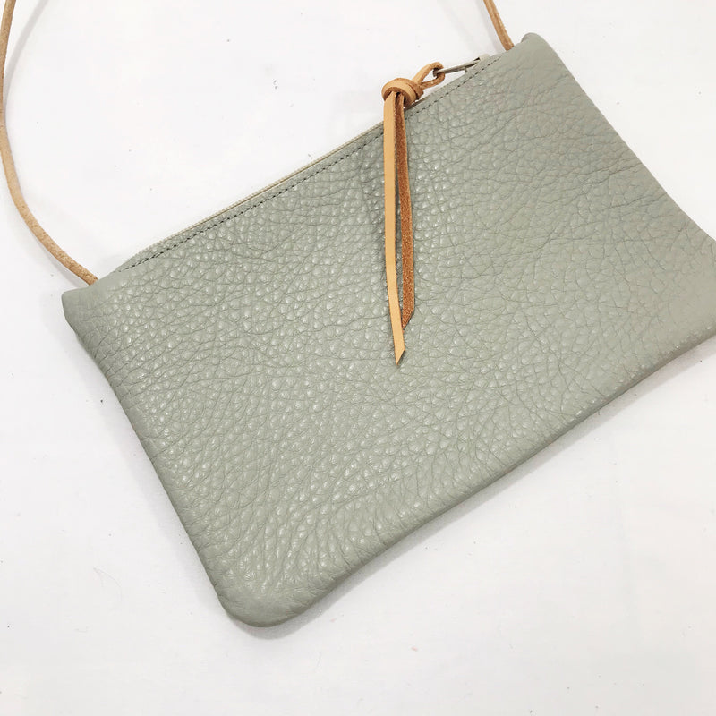 Leather Mini Purse Grey