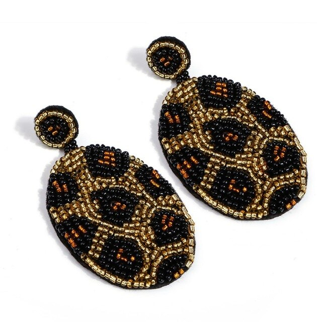 Handmade Beaded Leopard Earring