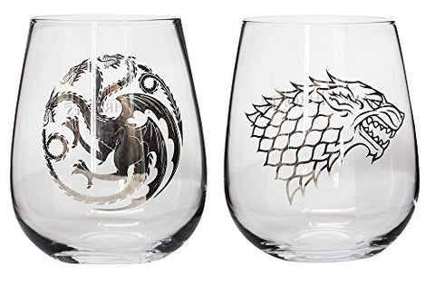 Game of Thrones Collectible Wine Glass Set, House Stark And House Targaryen