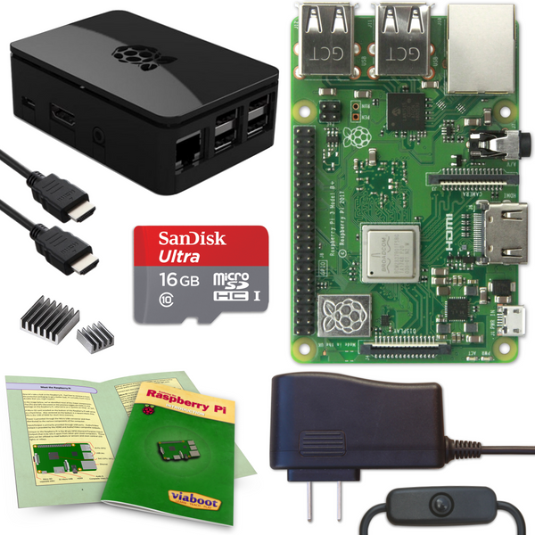 Viaboot Raspberry Pi 3 B+ Complete Kit with Premium Black Case