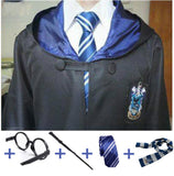 Harry Potter Cosplay Costume Robe with Tie, Scarf, Wand, and Glasses