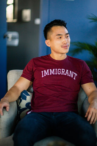Immigrant - Cranberry Red Unisex Crewneck Shirt