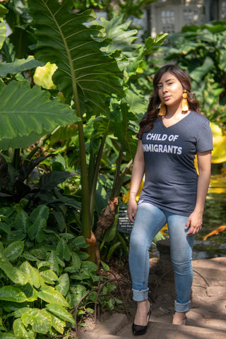Child of Immigrants - Heather Navy Vneck Shirt