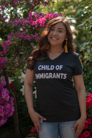 Child of Immigrants - Black Vneck Shirt