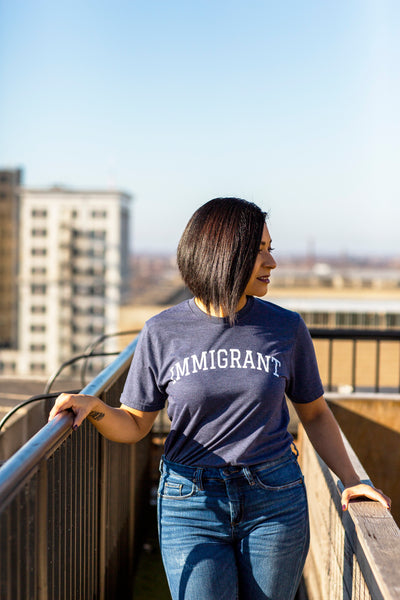 Immigrant - Heather Navy Unisex Crewneck Shirt