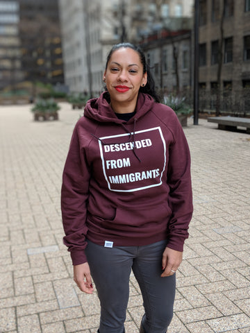Descended From Immigrants - Maroon Unisex Pullover Hoodie