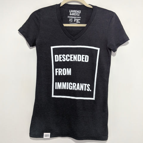 Descended From Immigrants - Black Vneck Shirt