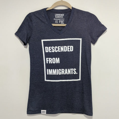Descended From Immigrants - Heather Navy Vneck Shirt