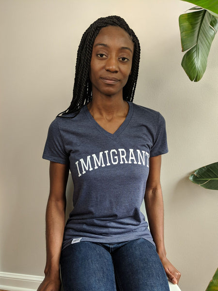 Immigrant - Heather Navy Vneck Shirt