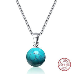 collier boule turquoise