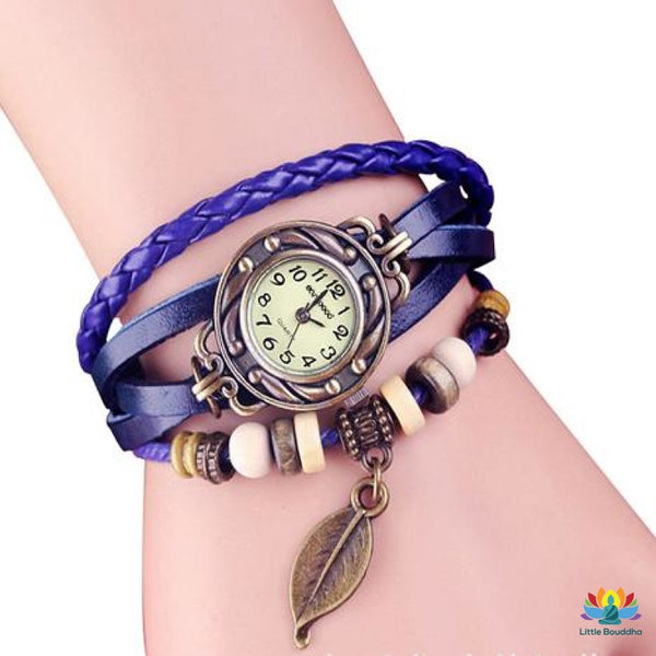 Montre Vintage Feuille De Bronze Blue Montre
