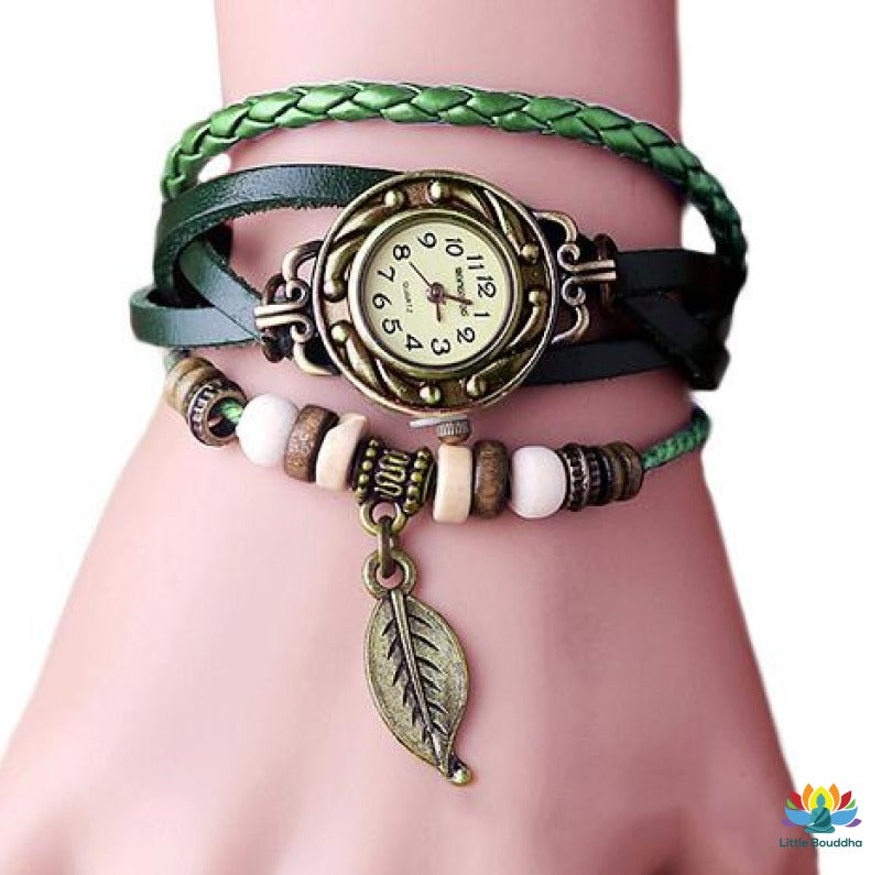 Montre Vintage Feuille De Bronze Green Montre