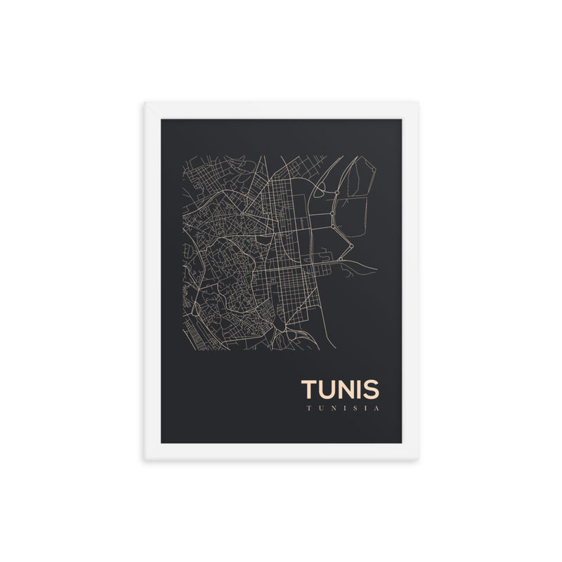 Tunis Map Framed Poster