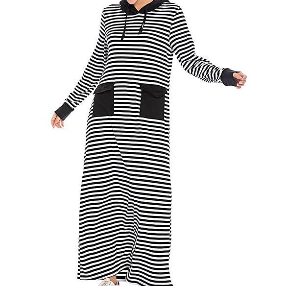 Active Basic Striped Abaya