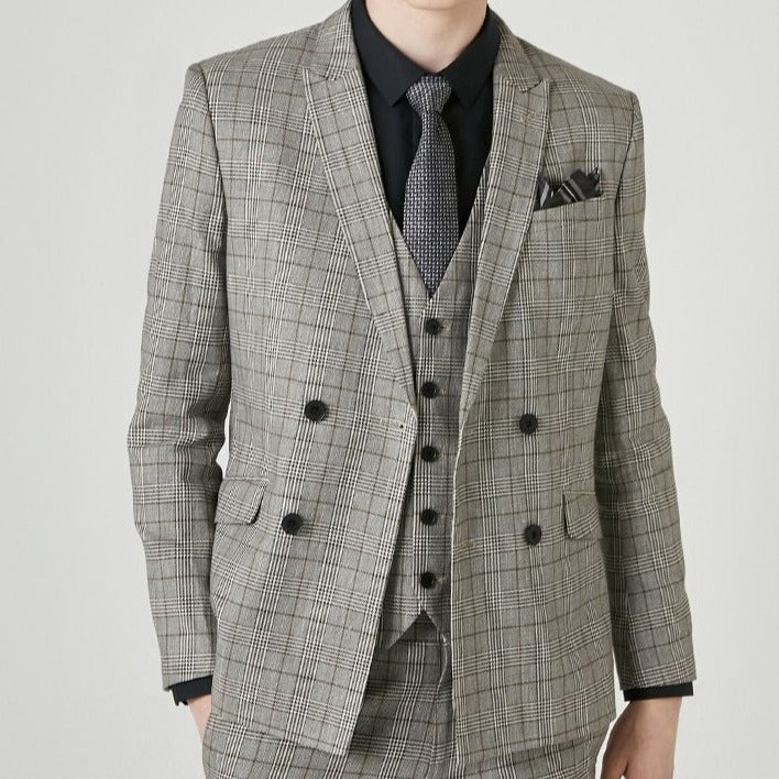 Men's Cotton-blend Plaid Double-breasted Blazer Jacket