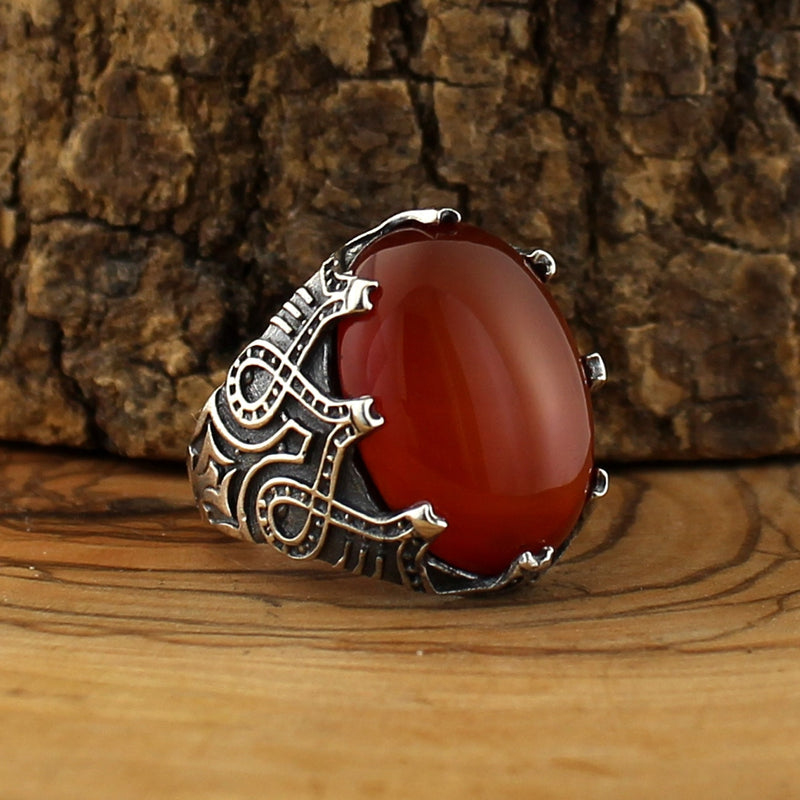 Amir Silver Red Stone Ring
