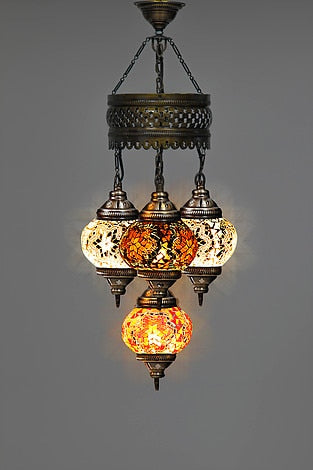 Turkish Handmade Four Ball Multicolor Mosaic Chandelier