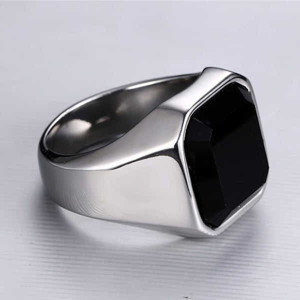 Basic Silver Black Stone Ring