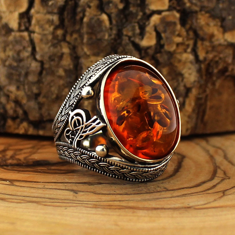 Silver Ambre Dust Stone Ring