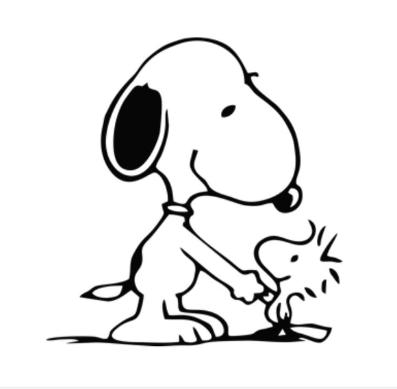 Snoopy and Woodstock hand shake vinyl decal