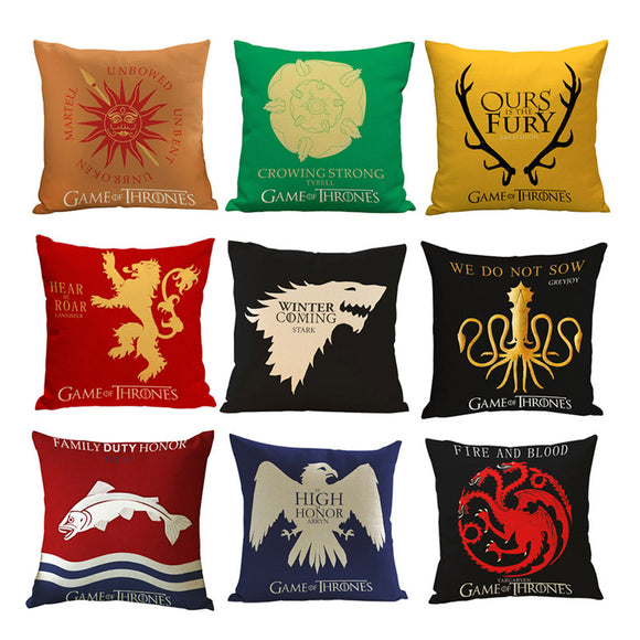 Game of Thrones House Sigils Family Crest Pillowcase Decorative Pillow Cover