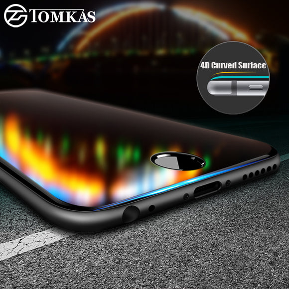 TOMKAS Glass For iPhone 8 7 Screen Protectors 4D Round Curved Edge Full Cover Protective For iPhone 8 7 Plus Tempered Glass