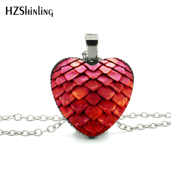 Game of Thrones Heart Dragon Egg Heart Pendant Glass