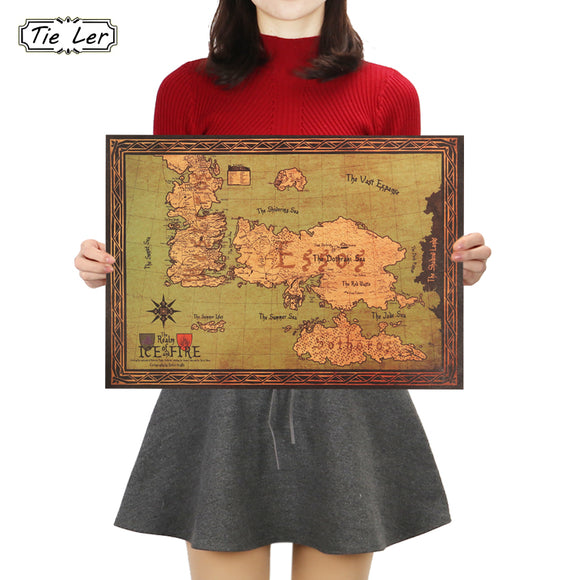 Game of Thrones World Map Retro Kraft Paper Poster