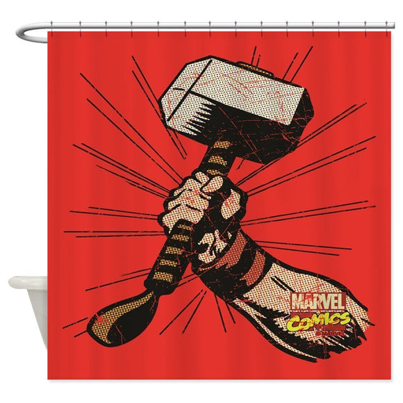 Thor Hammer Fabric Shower Curtain