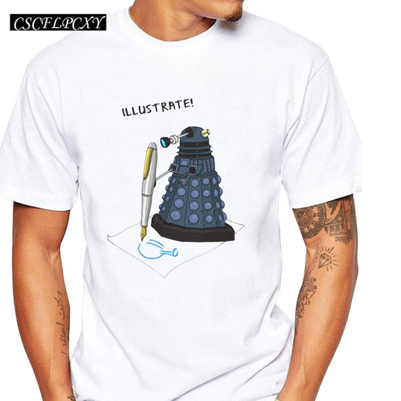 New fashion men letter printed customized t shirt doctor who cartoon male tee shirts short sleeve DR WHO casual funny tops