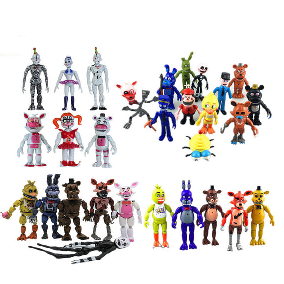 New Led Light Five Nights At Freddy's 9-12cm FNAF 4/5/6/11/12 Pcs Action Figures Fazbear Foxy PVC Figure Dolls Toys for Children