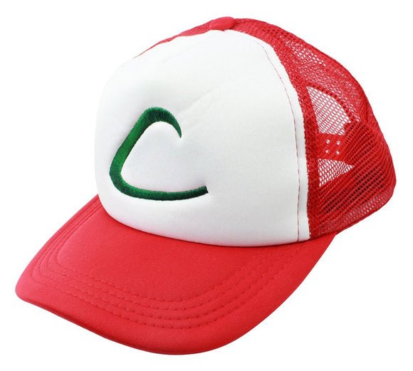 Pokemon Trainer Hat Cosplay Costume Adjustable Mesh Snapback Hat