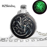 Glow in the dark Game Of Thrones Necklace, House Targaryen Necklace