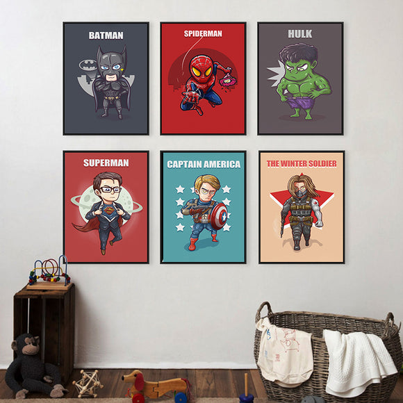 Superhero Cute Character Canvas Painting Art Print Poster