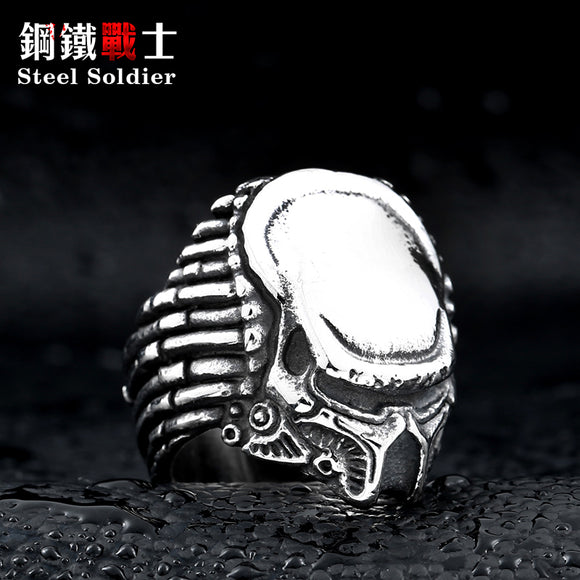Predator figure Ring Stainless steel Punk man Heavy Metal ring Movie Jewelry