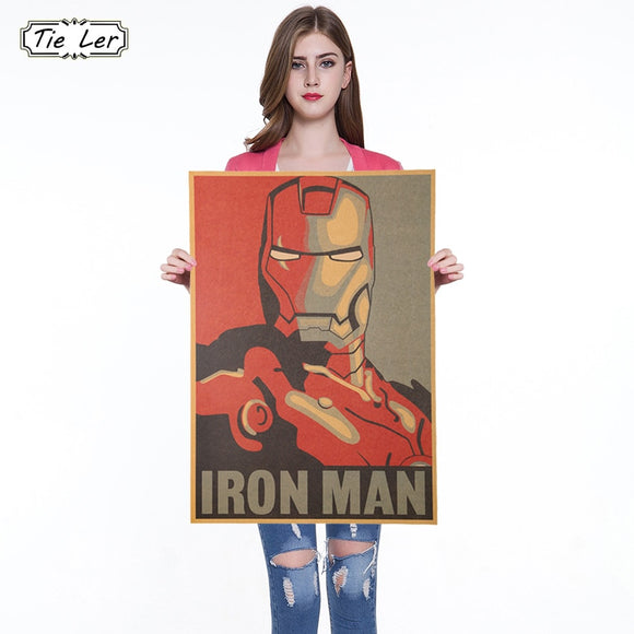Marvel Hero Iron Man Vintage Kraft Paper Classic Movie Poster