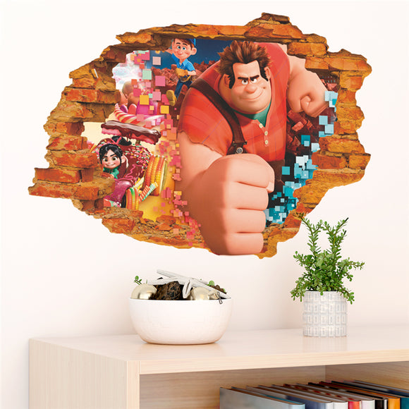 Wreck It Ralph breaking through wall decal