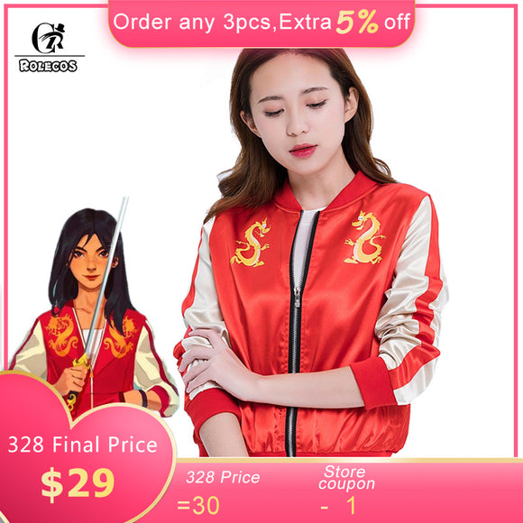 ROLECOS Wreck It Ralph 2 Mulan Cosplay Costume Princess Mulan Jacket Ralph Breaks the Internet Dragon Costume coat