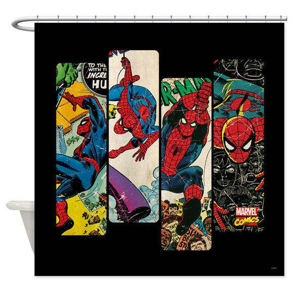 Spiderman Comic Panel Fabric Shower Curtain