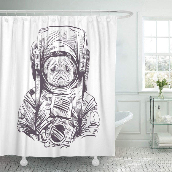Space Pug Dog in Astronaut Suit Fabric Shower Curtain