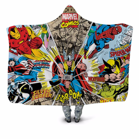 Marvel Comics Plush Hooded Washable Blanket Fleece