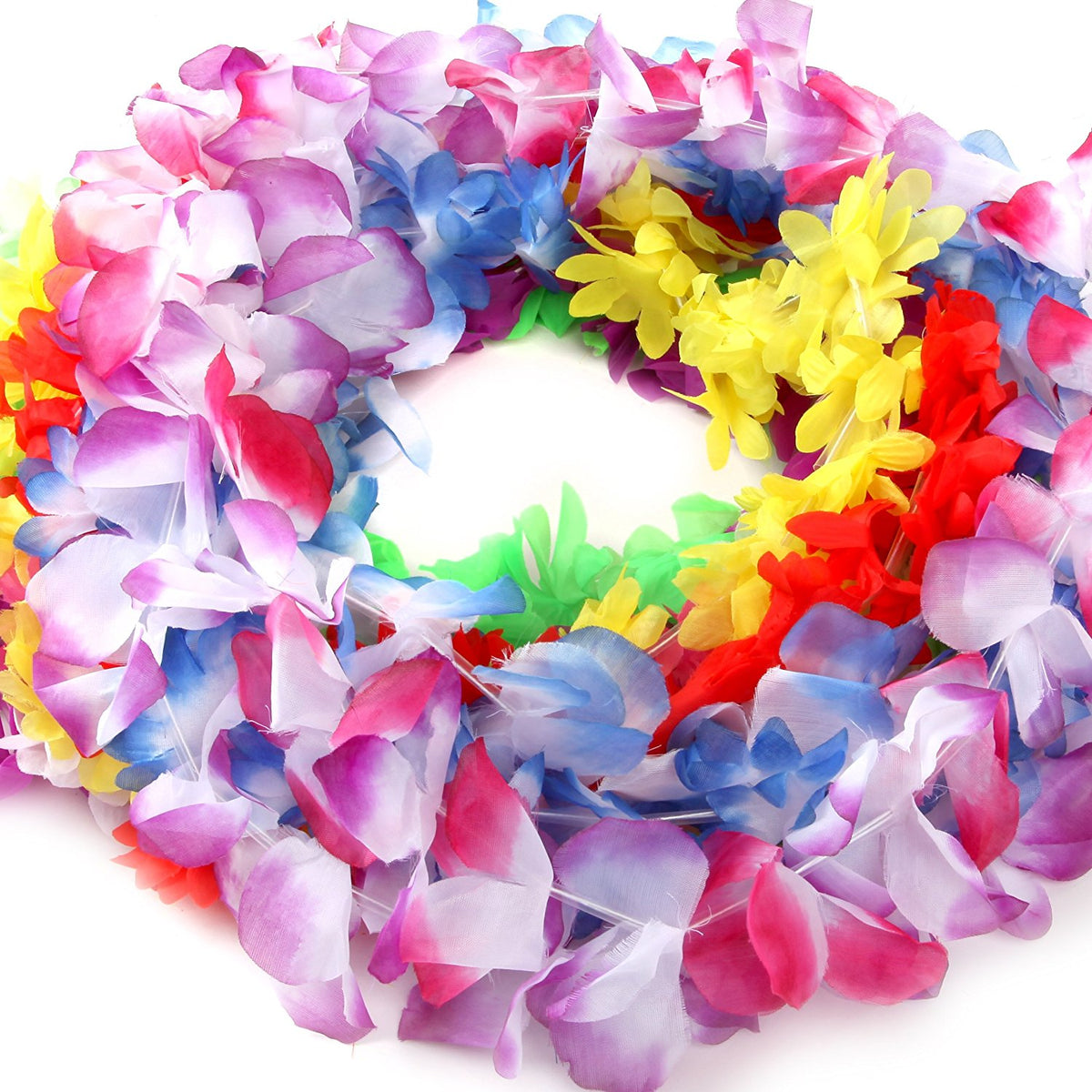 Silk Hawaiian Leis Necklace For Luau Party Flower Lei Garland With