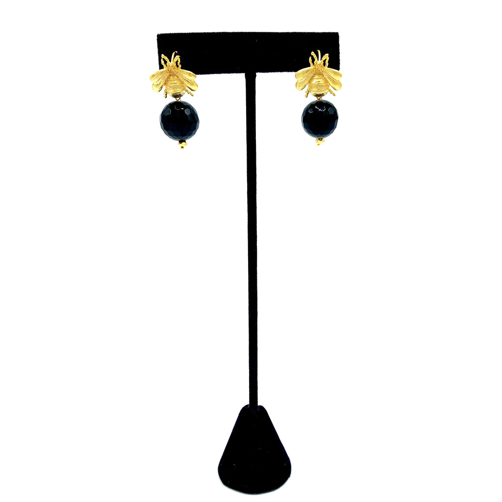 Onyx and Bee Earrings