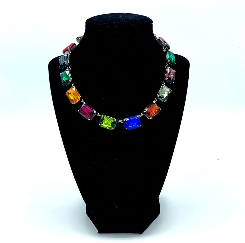 Emerald Cut Collet Necklace, Multi Color